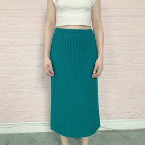 Vintage Skirts - knit ribbed emerald mid-calf sweater midi skirt